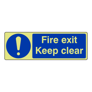 Photoluminescent Fire Exit Keep Clear Sign (Landscape)