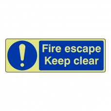 Photoluminescent Fire Escape Keep Clear Sign (Landscape)