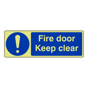 Photoluminescent Fire Door Keep Clear Sign (Landscape)