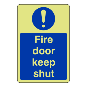 Photoluminescent Fire Door Keep Shut Sign (Portrait)