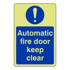 Photoluminescent Automatic Fire Door Keep Clear Sign (Portrait)