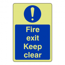 Photoluminescent Fire Exit Keep Clear Sign (Portrait)