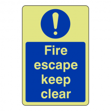 Photoluminescent Fire Escape Keep Clear Sign (Portrait)