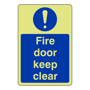 Photoluminescent Fire Door Keep Clear Sign (Portrait)