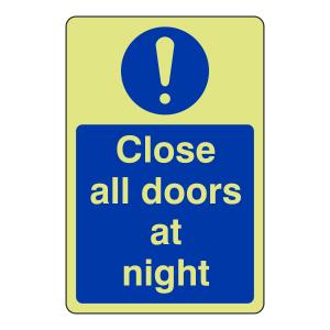 Photoluminescent Close All Doors At Night Sign (Portrait)