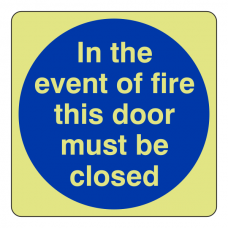 Photoluminescent In The Event Of Fire This Door Must Be Closed Sign