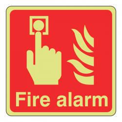 Photoluminescent Fire Alarm Sign (Logo)