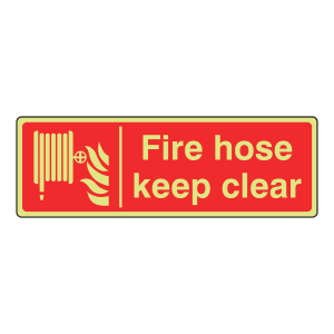 Photoluminescent Fire Hose Keep Clear Sign (Landscape)