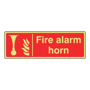 Photoluminescent Fire Alarm Horn Sign (Landscape)