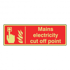 Photoluminescent Mains Electricity Cut Off Point Sign (Landscape)