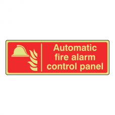 Photoluminescent Automatic Fire Alarm Control Panel Sign (Landscape)