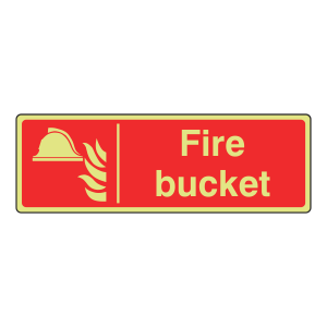 Photoluminescent Fire Bucket Sign (Landscape)