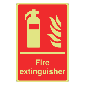 Photoluminescent Fire Extinguisher Sign (Portrait)