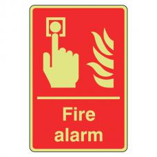 Photoluminescent Fire Alarm Sign (Portrait)