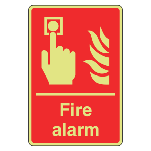 Photoluminescent Fire Alarm Sign (Portrait)