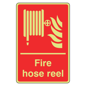 Photoluminescent Fire Hose Reel Sign (Portrait)