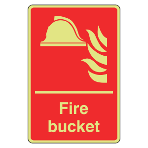 Photoluminescent Fire Bucket Sign (Portrait)