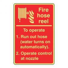 Photoluminescent Fire Hose Reel Instructions Sign (Automatic)