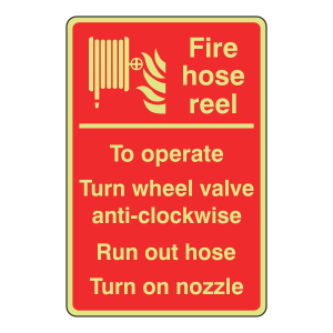 Photoluminescent Fire Hose Reel Instructions Sign (Manual)