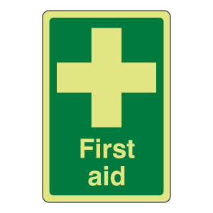 Photoluminescent First Aid Sign