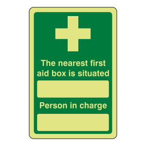 Photoluminescent First Aid Box / Person In Charge Sign
