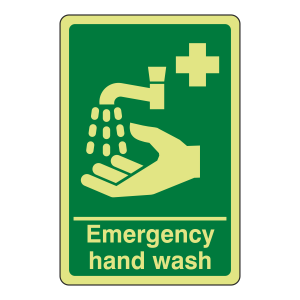 Photoluminescent Emergency Hand Wash Sign