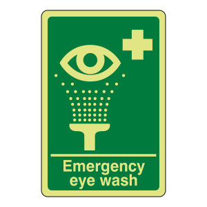 Photoluminescent Emergency Eye Wash Sign