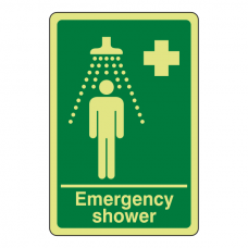 Photoluminescent Emergency Shower Sign