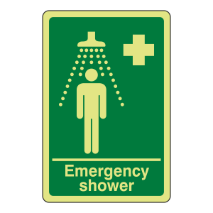 Photoluminescent Emergency Shower Sign
