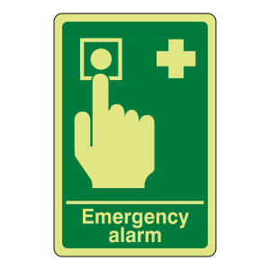 Photoluminescent Emergency Alarm Sign