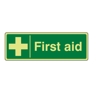 Photoluminescent First Aid Sign (Landscape)