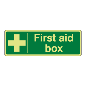 Photoluminescent First Aid Box Sign (Portrait)
