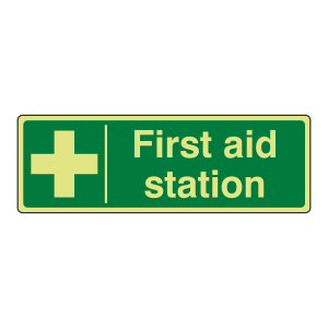 Photoluminescent First Aid Station Sign (Landscape)