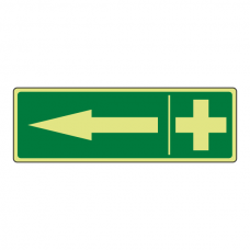 Photoluminescent First Aid Arrow Left Sign