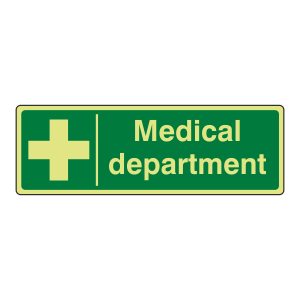 Photoluminescent Medical Department Sign (Landscape)