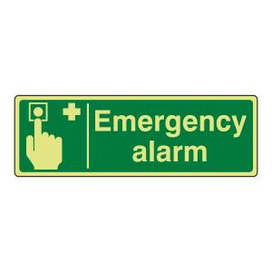 Photoluminescent Emergency Alarm Sign (Landscape)
