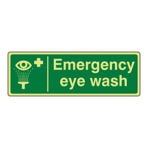 Photoluminescent Emergency Eye Wash Sign (Landscape)