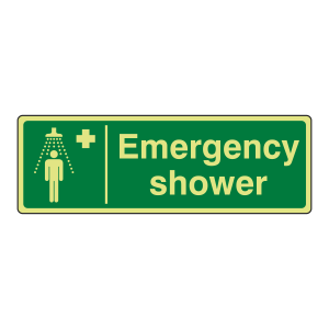 Photoluminescent Emergency Shower Sign (Landscape)