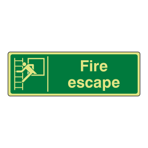 Photoluminescent Fire Escape Sign (Landscape)