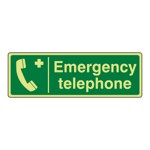 Photoluminescent Emergency Telephone Sign (Landscape)