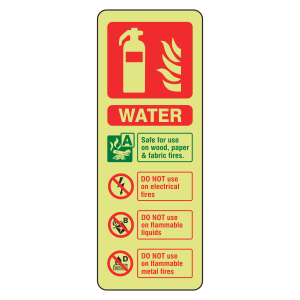 Photoluminescent Water Fire Extinguisher ID Sign (Portrait)