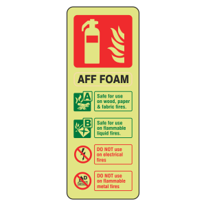 Photoluminescent AFF Foam Fire Extinguisher ID Sign (Portrait)