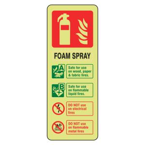 Photoluminescent Foam Spray Fire Extinguisher ID Sign (Portrait)