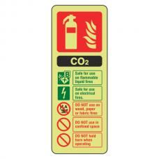 Photoluminescent  CO2 Fire Extinguisher ID Sign (Portrait)