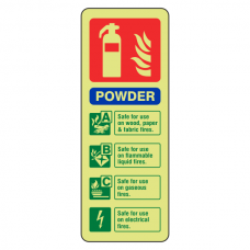 Photoluminescent  Powder Fire Extinguisher ID Sign (Portrait)