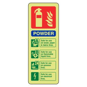 Photoluminescent  Powder Fire Extinguisher ID Sign (Portrait)