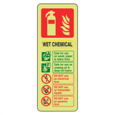 Photoluminescent Wet Chemical Fire Extinguisher ID Sign (Portrait)