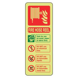 Photoluminescent  Fire Hose Reel Fire Extinguisher ID Sign (Portrait)
