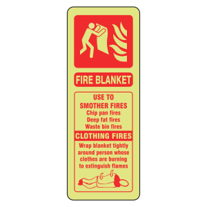 Photoluminescent Fire Blanket Extinguisher ID Sign (Portrait)