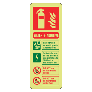 Photoluminescent Water + Additive Fire Extinguisher ID Sign (Portrait)